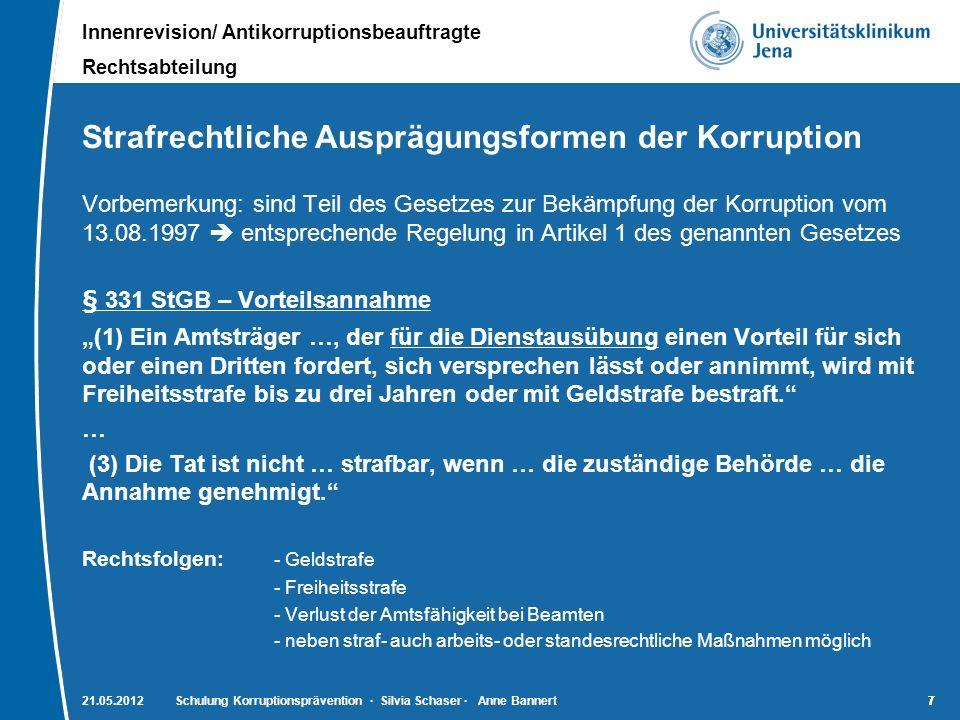 Strafrechtliche Ausprägungsformen der Korruption