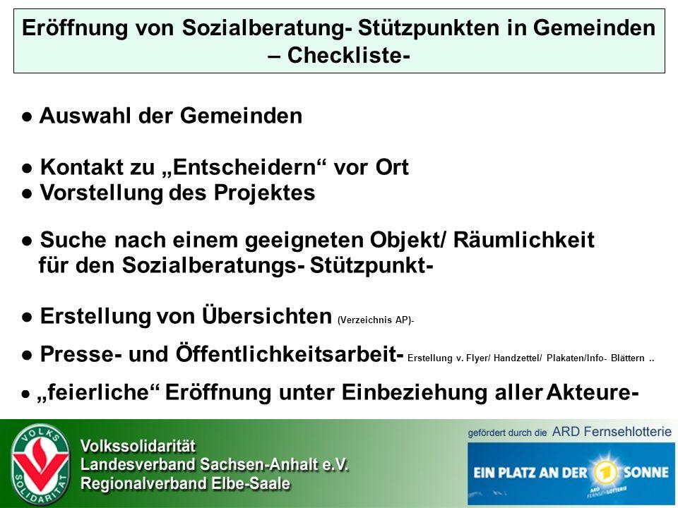 Eröffnung von Sozialberatung- Stützpunkten in Gemeinden – Checkliste-