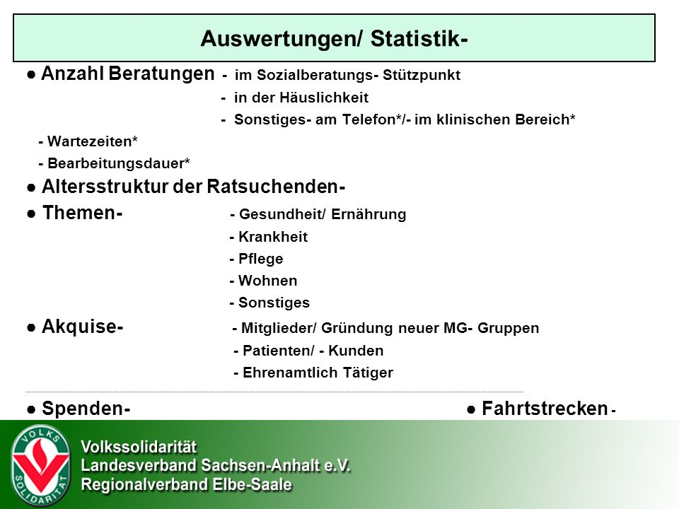Auswertungen/ Statistik-