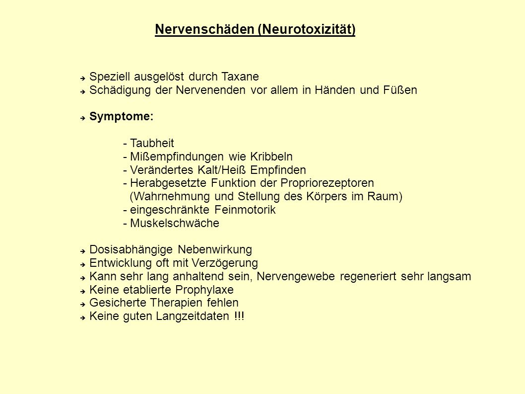 Nervenschäden (Neurotoxizität)