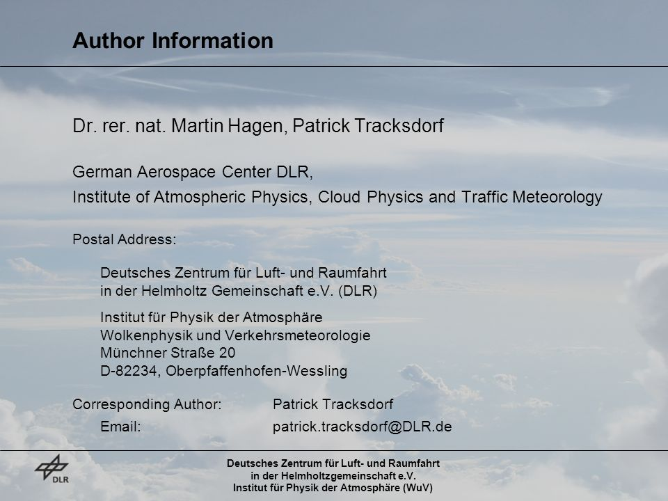 Author Information Dr. rer. nat. Martin Hagen, Patrick Tracksdorf