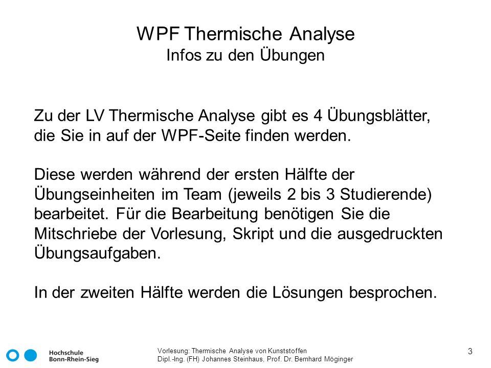 WPF Thermische Analyse Infos zu den Übungen