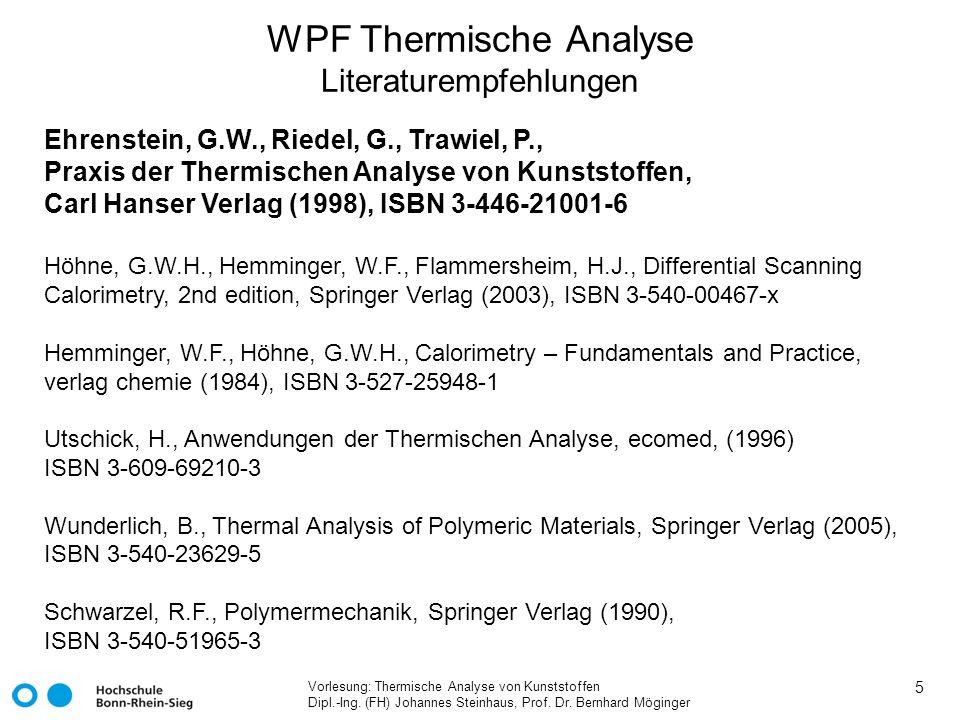 WPF Thermische Analyse Literaturempfehlungen
