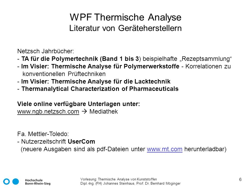 WPF Thermische Analyse Literatur von Geräteherstellern