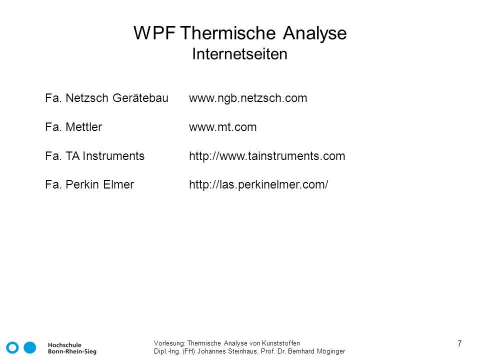 WPF Thermische Analyse Internetseiten
