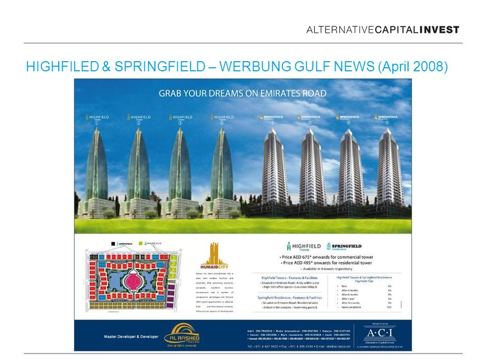 HIGHFILED & SPRINGFIELD – WERBUNG GULF NEWS (April 2008)