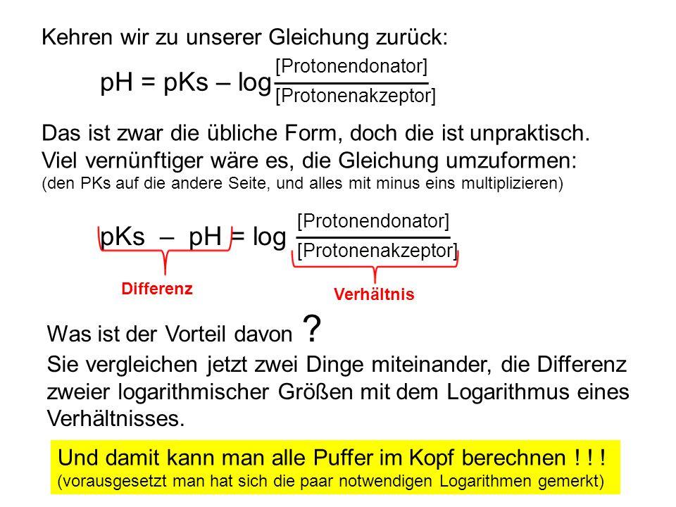 pH = pKs – log pKs – pH = log Kehren wir zu unserer Gleichung zurück: