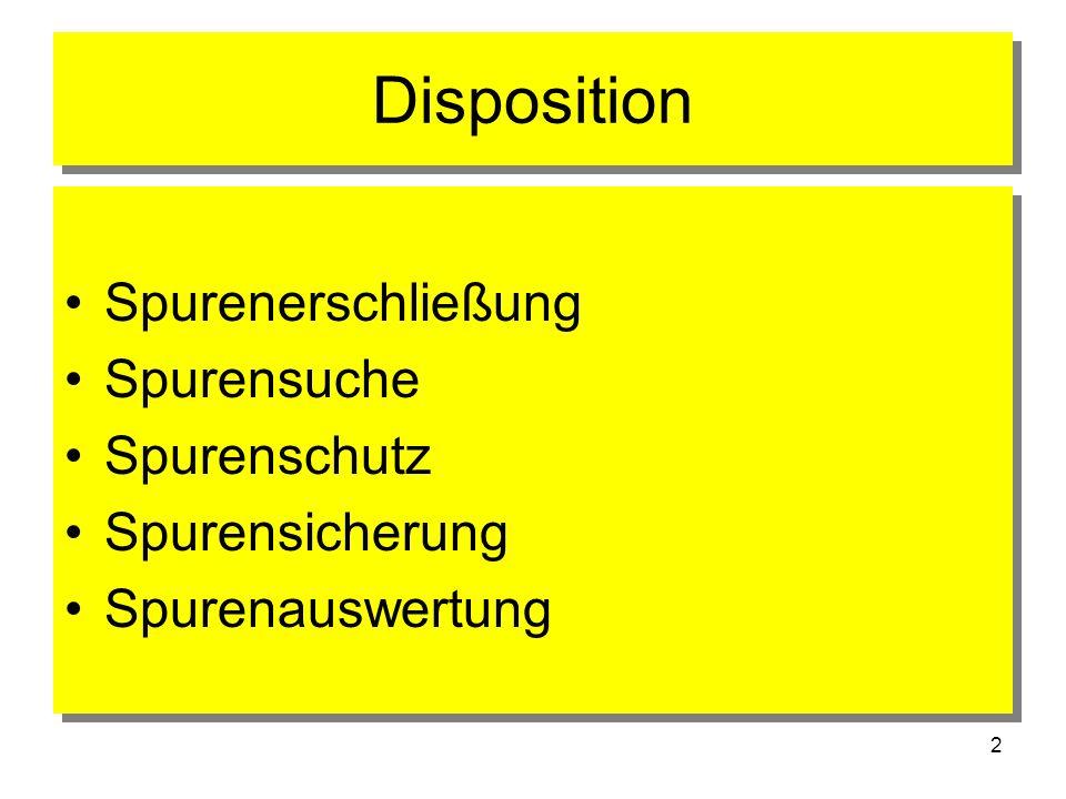 Disposition Spurenerschließung Spurensuche Spurenschutz