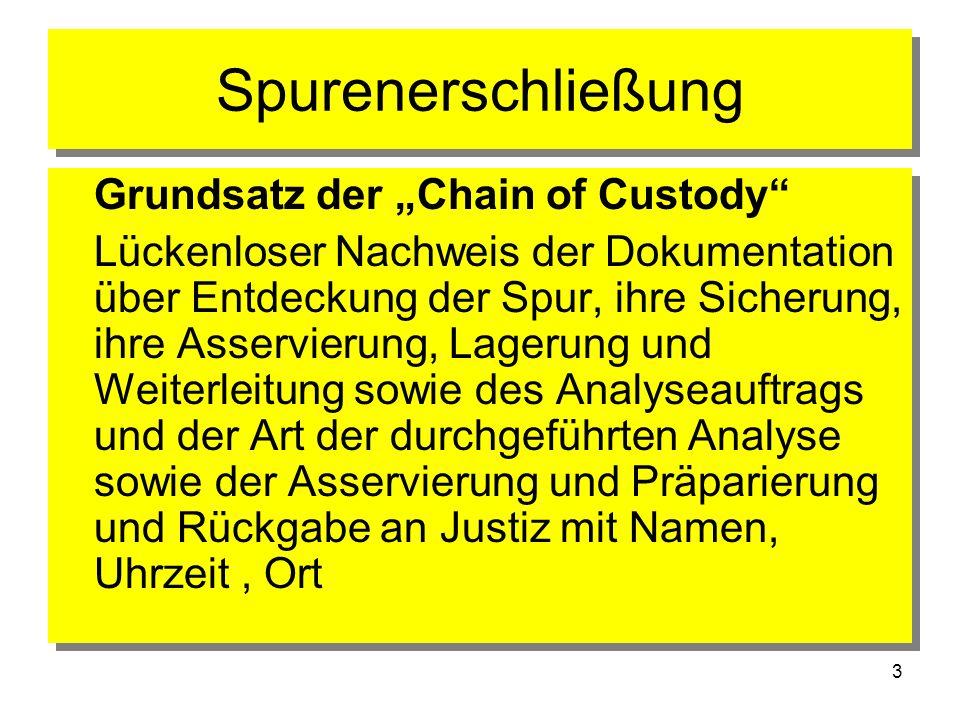 """Spurenerschließung Grundsatz der """"Chain of Custody"""