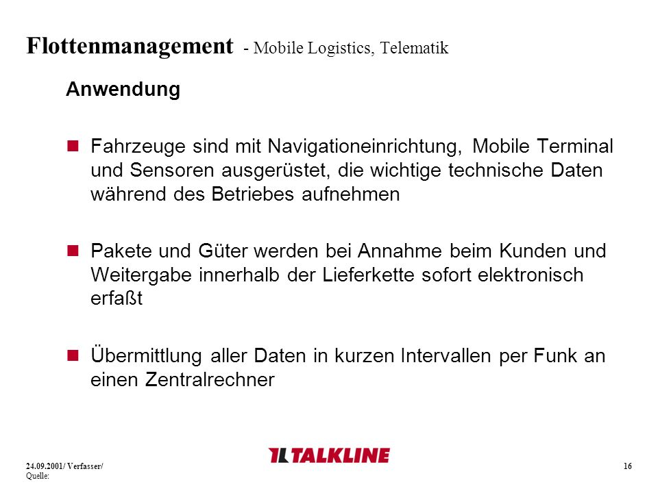 Flottenmanagement - Mobile Logistics, Telematik