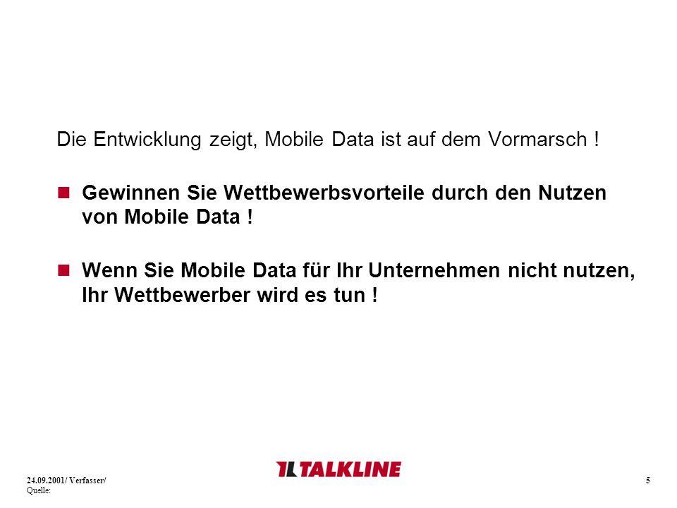 Die Entwicklung zeigt, Mobile Data ist auf dem Vormarsch !