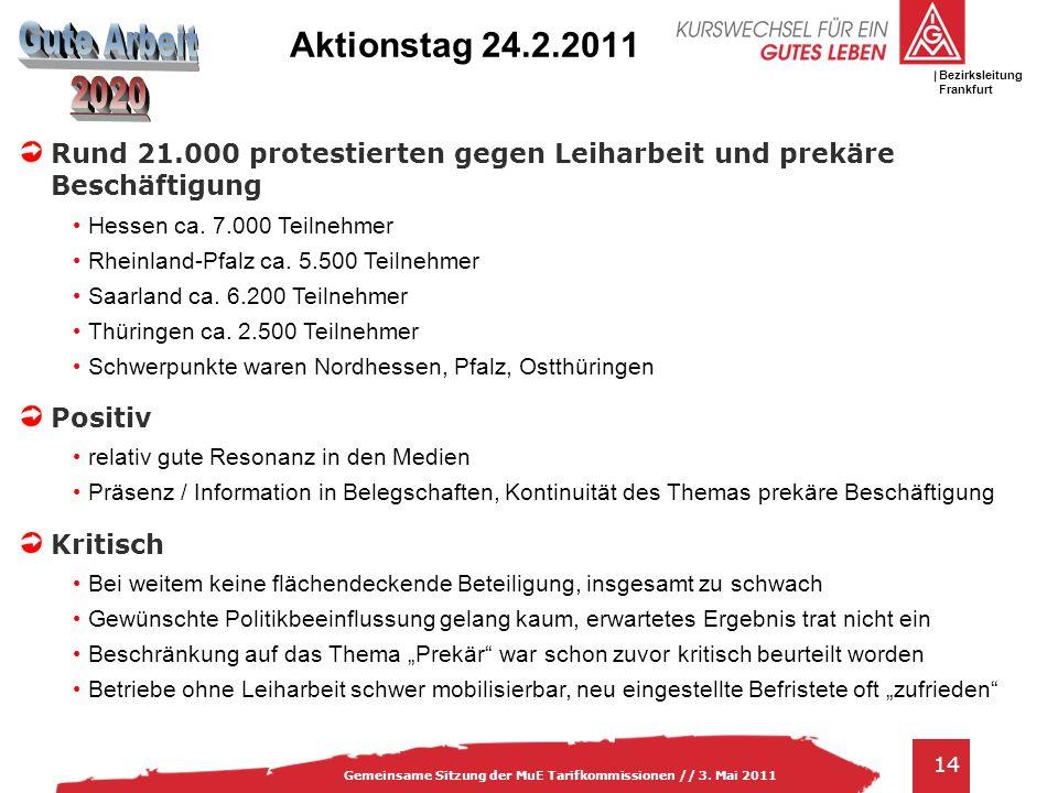 Aktionstag 24.2.2011 Rund 21.000 protestierten gegen Leiharbeit und prekäre Beschäftigung. Hessen ca. 7.000 Teilnehmer.