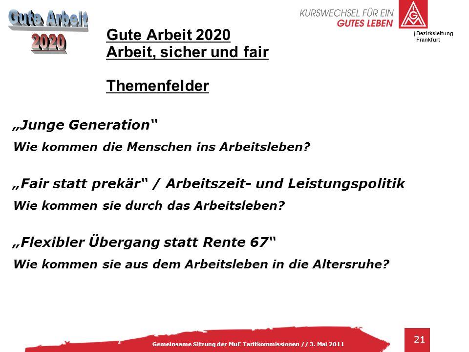 Gute Arbeit 2020 Arbeit, sicher und fair Themenfelder