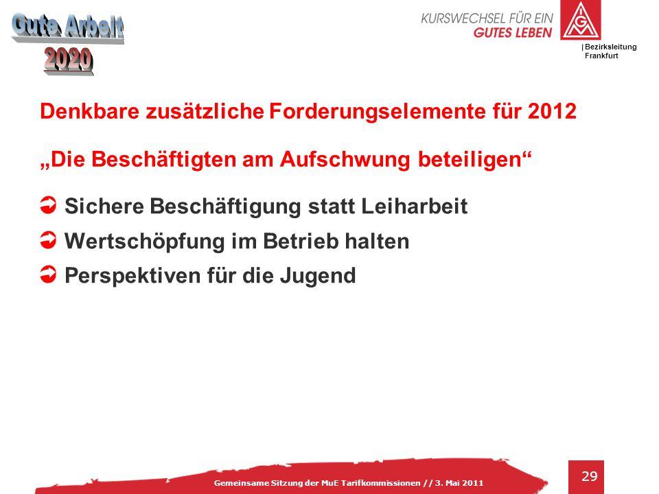 """Denkbare zusätzliche Forderungselemente für 2012 """"Die Beschäftigten am Aufschwung beteiligen"""