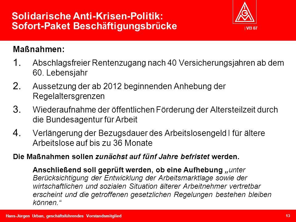 Solidarische Anti-Krisen-Politik: Sofort-Paket Beschäftigungsbrücke