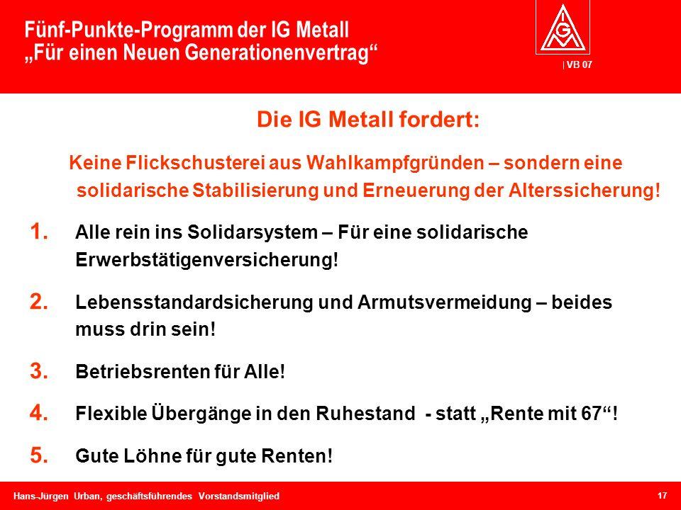 """Fünf-Punkte-Programm der IG Metall """"Für einen Neuen Generationenvertrag"""