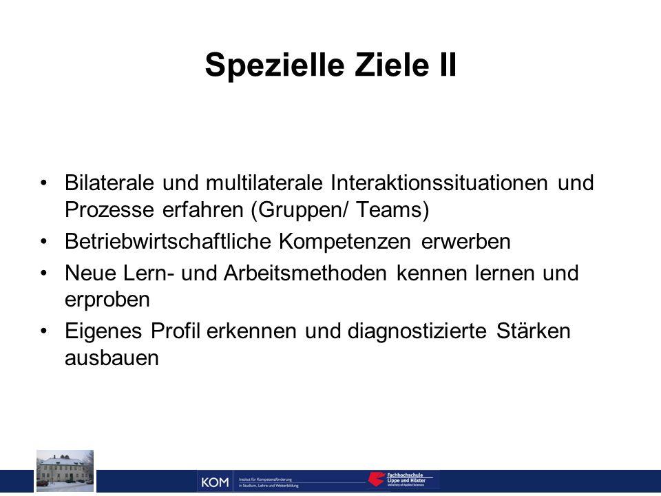 Spezielle Ziele II Bilaterale und multilaterale Interaktionssituationen und Prozesse erfahren (Gruppen/ Teams)