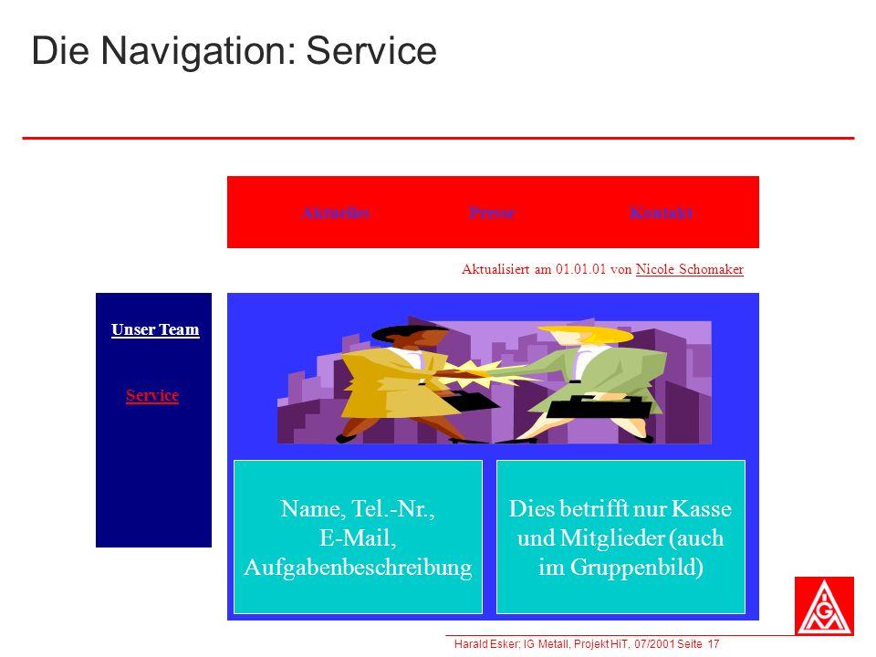 Die Navigation: Service