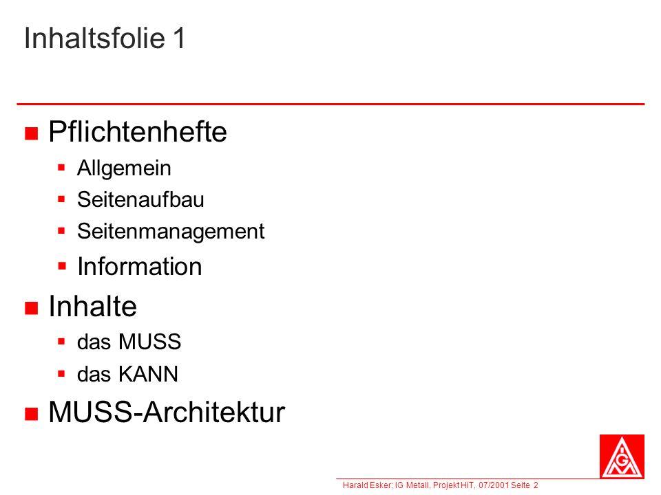 Inhaltsfolie 1 Pflichtenhefte Inhalte MUSS-Architektur Information