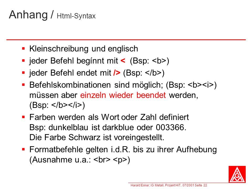 Anhang / Html-Syntax Kleinschreibung und englisch