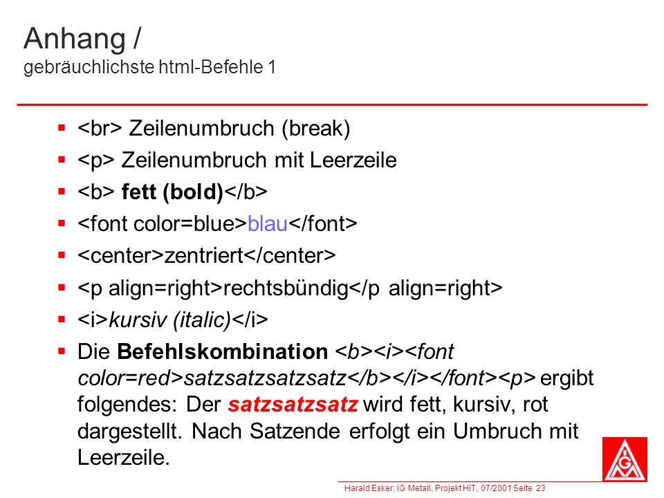 Anhang / gebräuchlichste html-Befehle 1