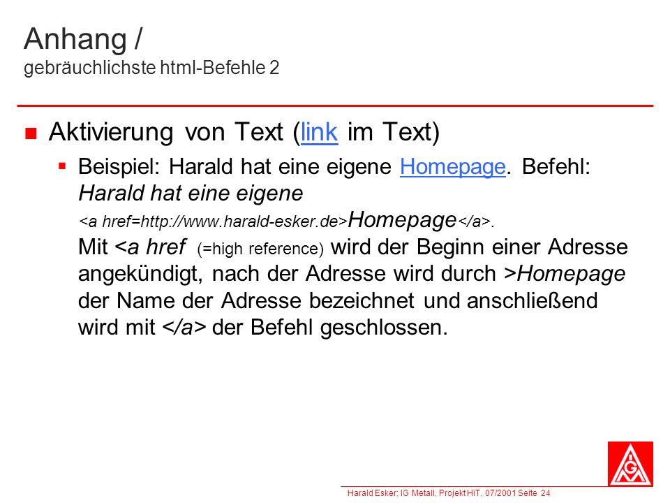 Anhang / gebräuchlichste html-Befehle 2