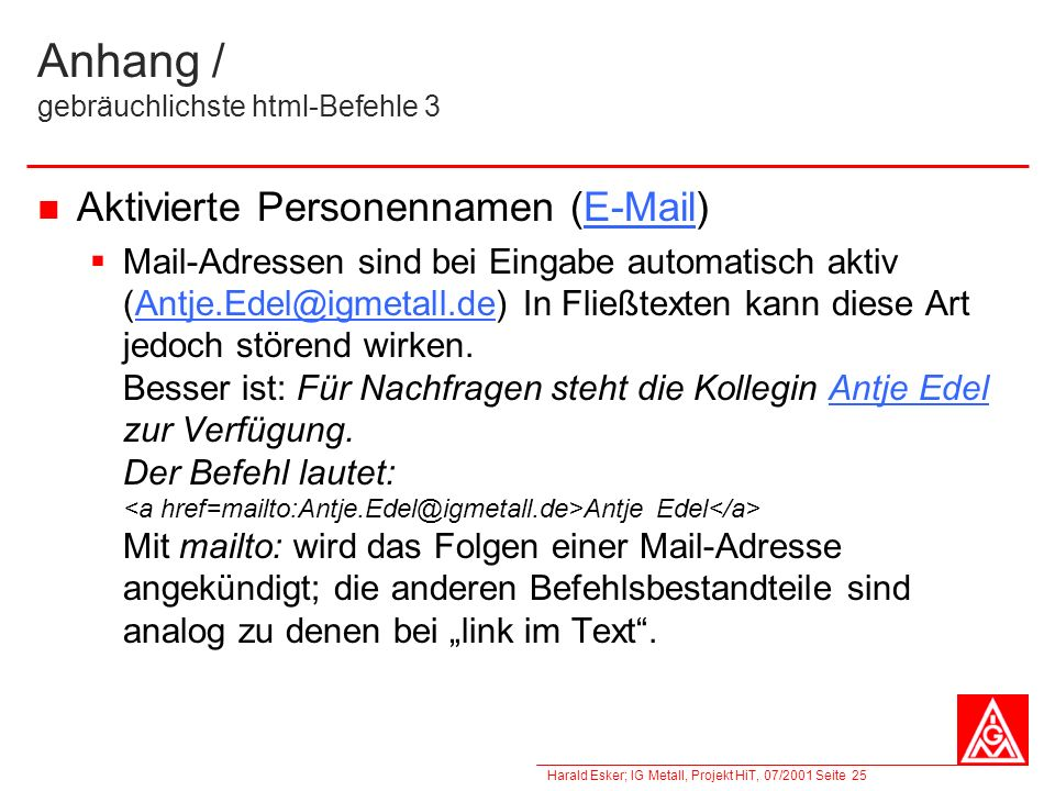 Anhang / gebräuchlichste html-Befehle 3