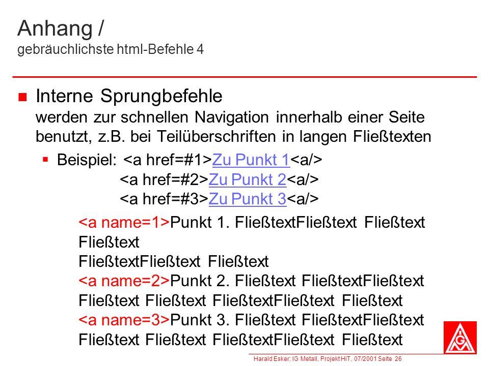 Anhang / gebräuchlichste html-Befehle 4