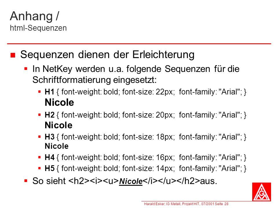 Anhang / html-Sequenzen
