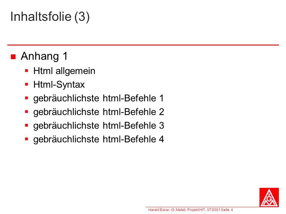 Inhaltsfolie (3) Anhang 1 Html allgemein Html-Syntax