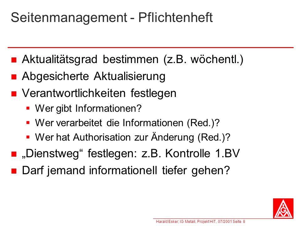 Seitenmanagement - Pflichtenheft