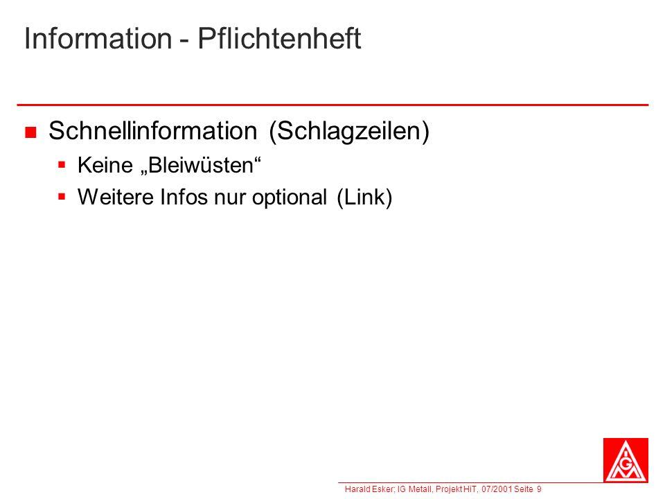 Information - Pflichtenheft