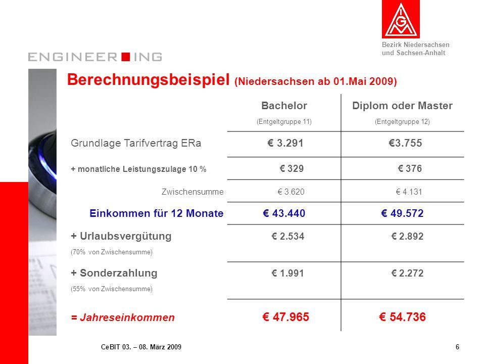 Berechnungsbeispiel (Niedersachsen ab 01.Mai 2009)
