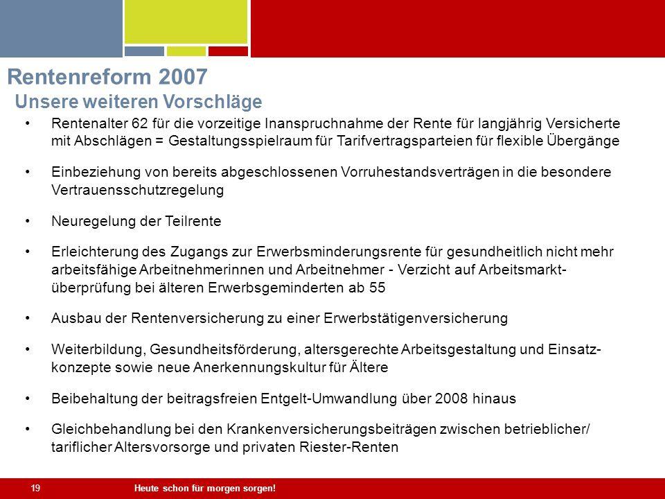 Rentenreform 2007 Unsere weiteren Vorschläge