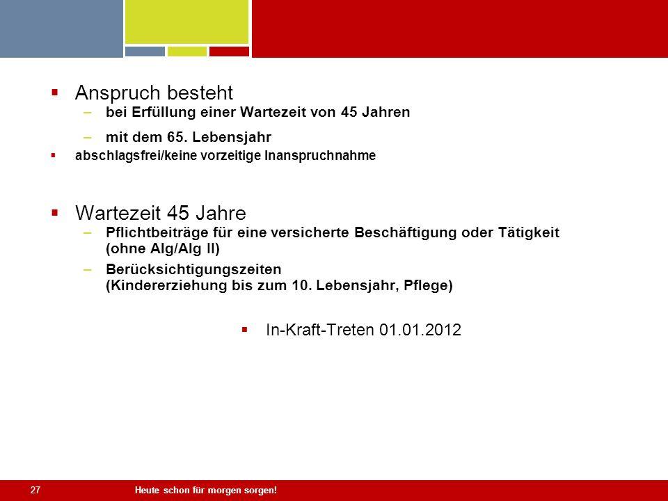 Anspruch besteht Wartezeit 45 Jahre In-Kraft-Treten 01.01.2012