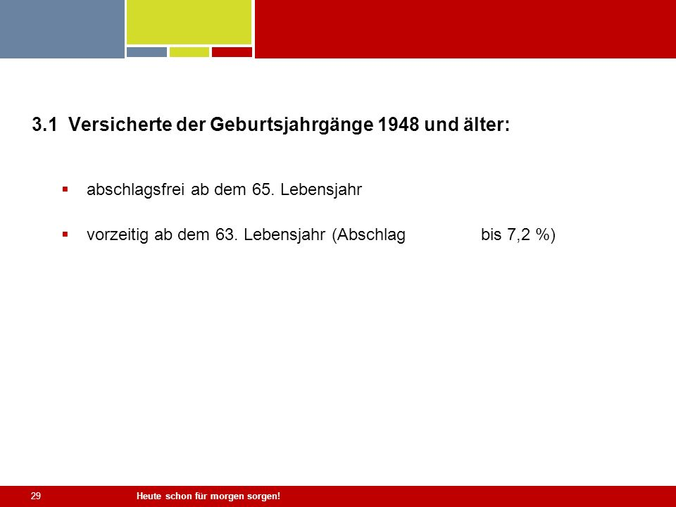 3.1 Versicherte der Geburtsjahrgänge 1948 und älter: