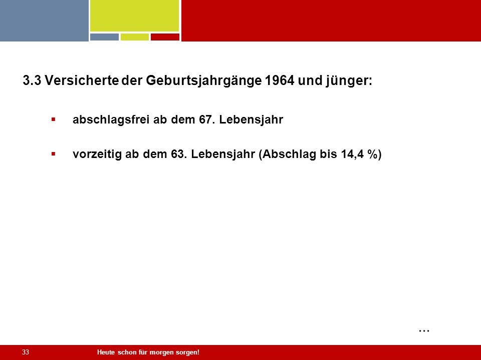 ... 3.3 Versicherte der Geburtsjahrgänge 1964 und jünger: