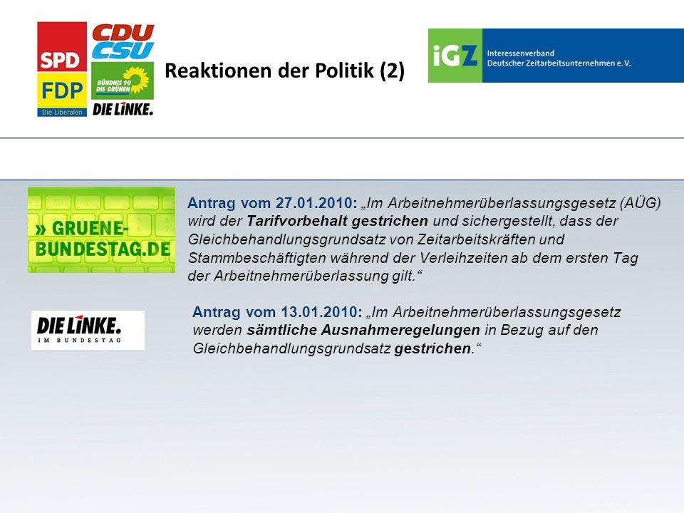 Reaktionen der Politik (2)