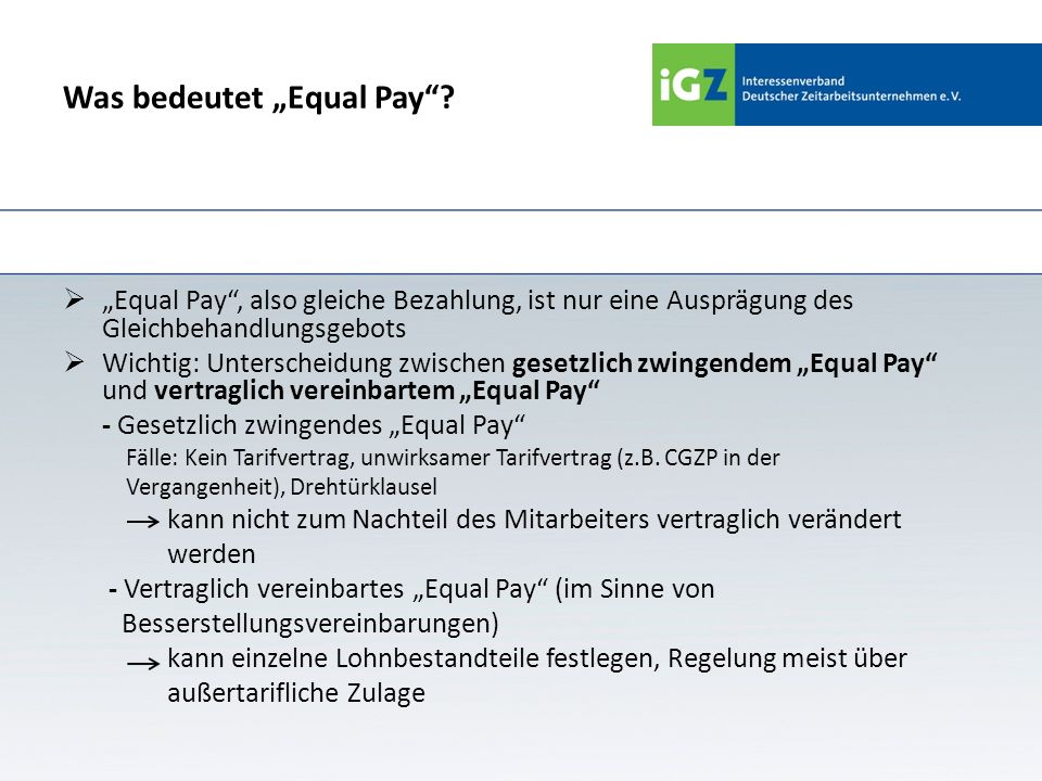 "Was bedeutet ""Equal Pay"