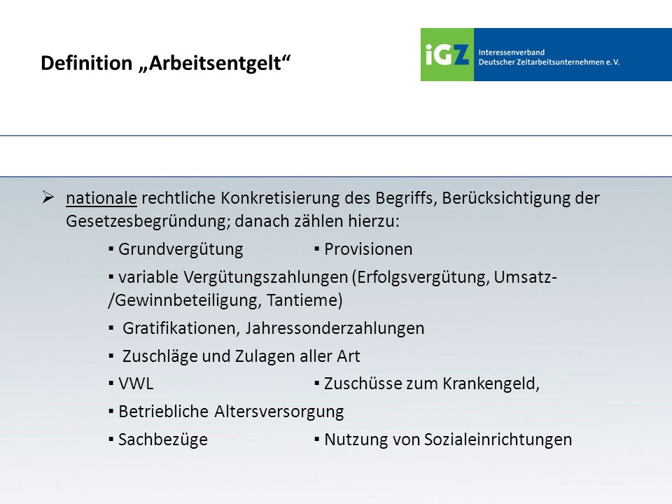 "Definition ""Arbeitsentgelt"