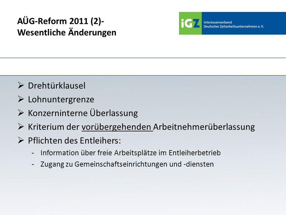 AÜG-Reform 2011 (2)- Wesentliche Änderungen