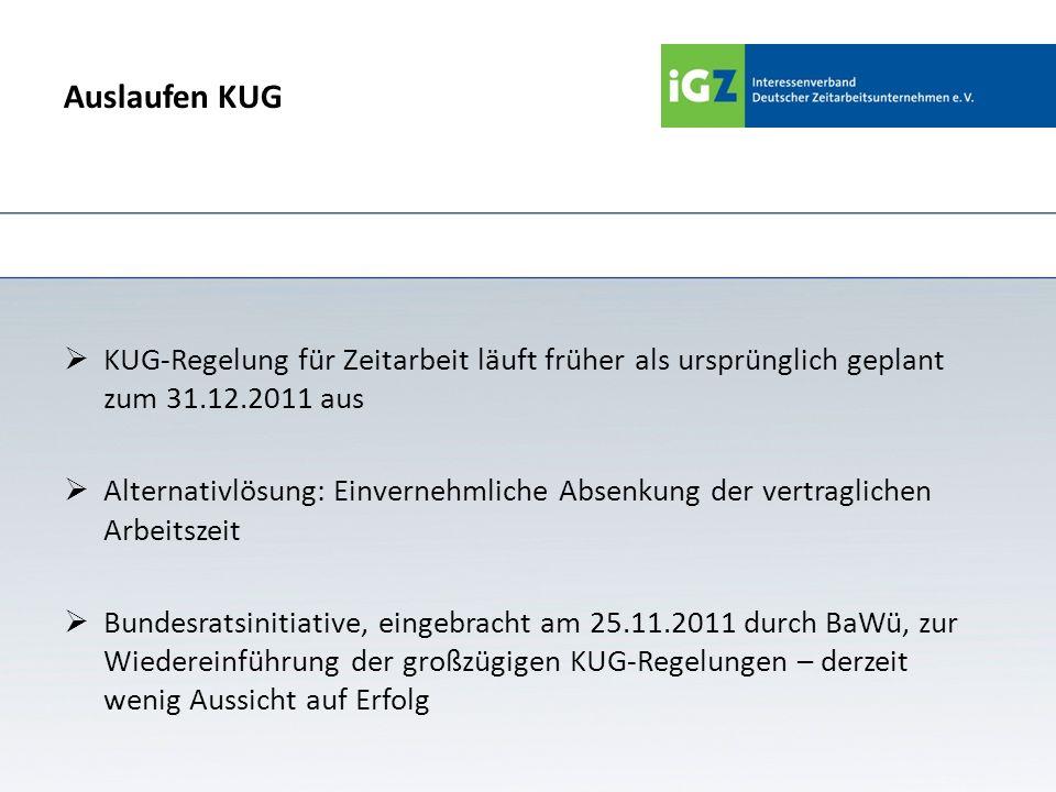 Auslaufen KUG KUG-Regelung für Zeitarbeit läuft früher als ursprünglich geplant zum 31.12.2011 aus.