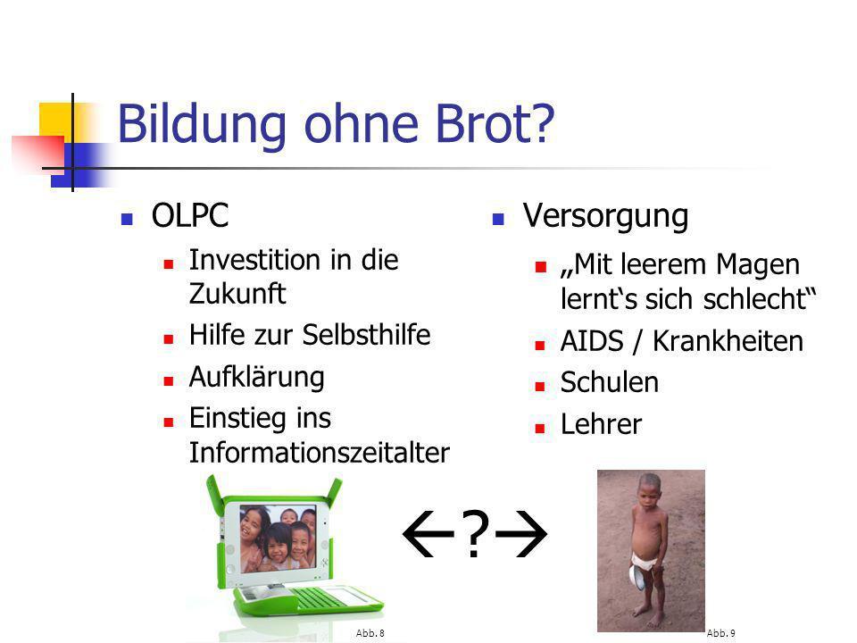   Bildung ohne Brot OLPC Versorgung
