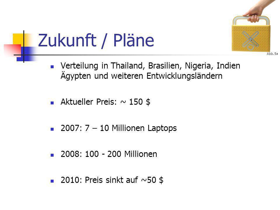 Zukunft / PläneAbb. 5a. Verteilung in Thailand, Brasilien, Nigeria, Indien Ägypten und weiteren Entwicklungsländern.