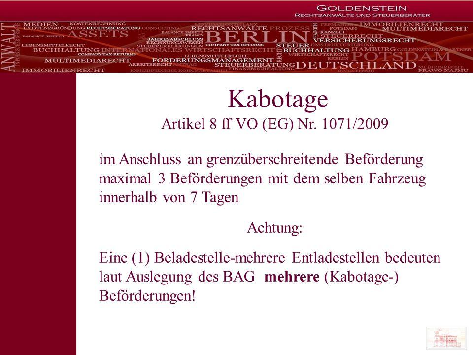 Kabotage Artikel 8 ff VO (EG) Nr. 1071/2009