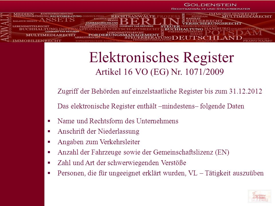 Elektronisches Register Artikel 16 VO (EG) Nr. 1071/2009