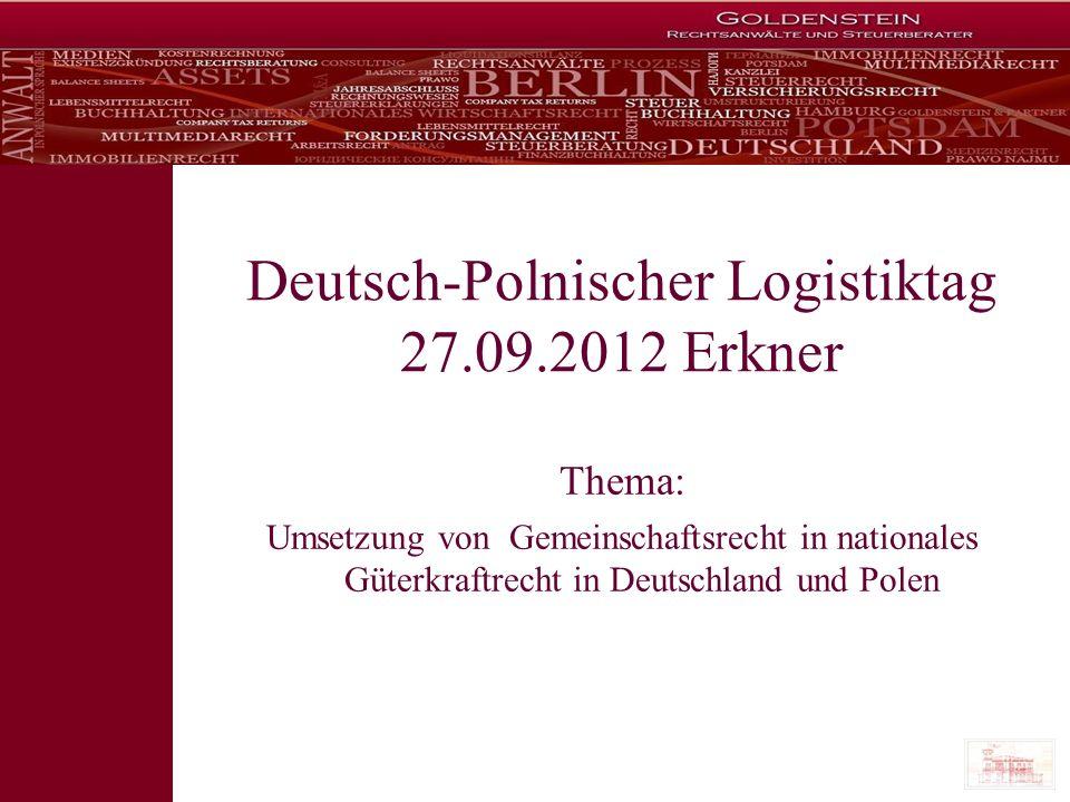 Deutsch-Polnischer Logistiktag 27.09.2012 Erkner
