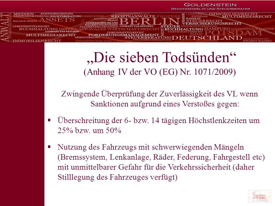"""""""Die sieben Todsünden (Anhang IV der VO (EG) Nr. 1071/2009)"""