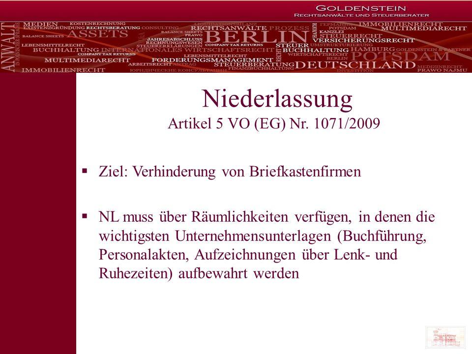 Niederlassung Artikel 5 VO (EG) Nr. 1071/2009