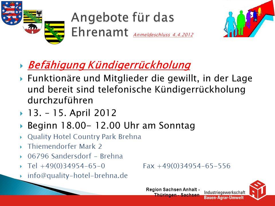 Angebote für das Ehrenamt Anmeldeschluss 4.4.2012